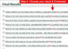 Step-4 how to download Indian army result